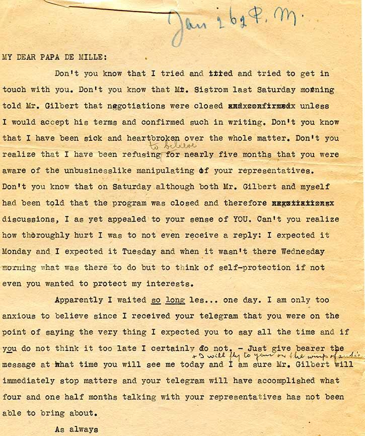 Brief van Jetta aan De Mille – 1928